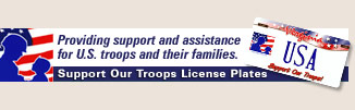 Support Our Troops license plates.