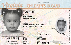 Image of a Virginia children's ID card.