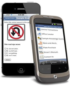 DMV offers mobile apps for both the iPhone and Android platforms.