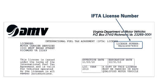 jpg showing circled registration year, IRP account number and fleet number  in the top row, left-hand side of the form