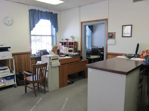 Interior photo of office.