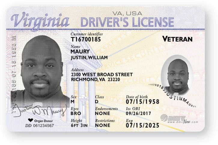 sample driver's license with veteran indicator