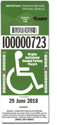 Institutional and Organizational Parking Placard