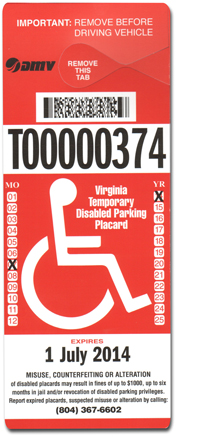Temporary Parking Placard