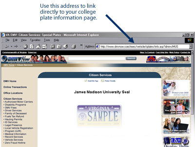 screen print showing where to find the link for your college plate