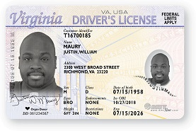 Picture of Non compliant Real ID License