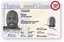 Non-REAL ID license with Federal Limits Apply highlighted
